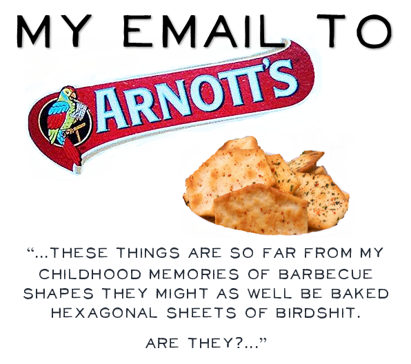 My email to Arnott's