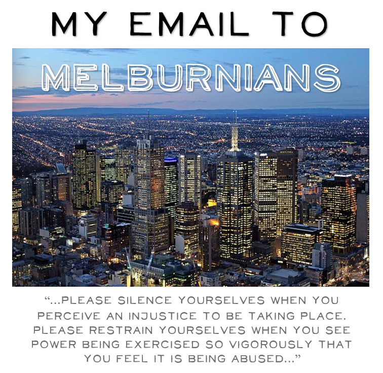 My email to Melburnians tile