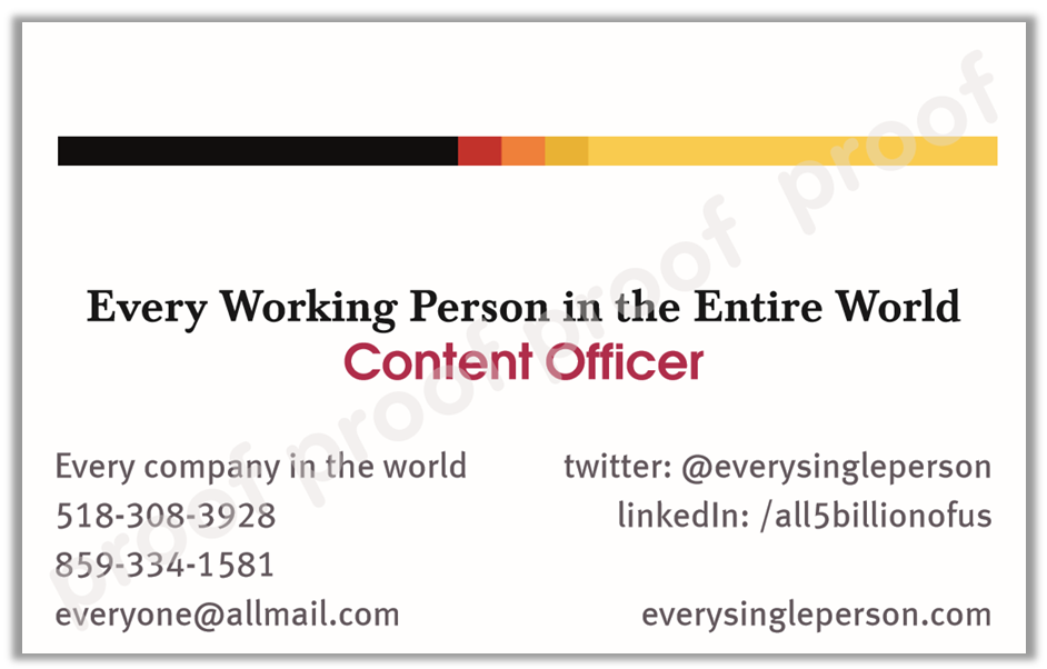 Content Officer business card