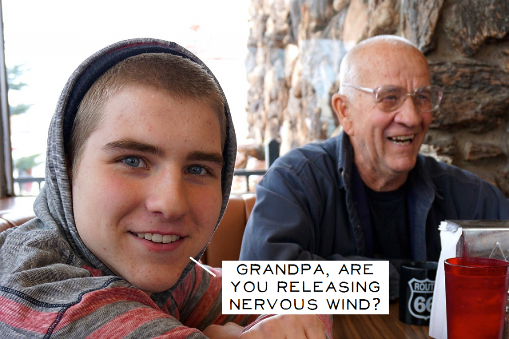Grandpa and grandson - wind